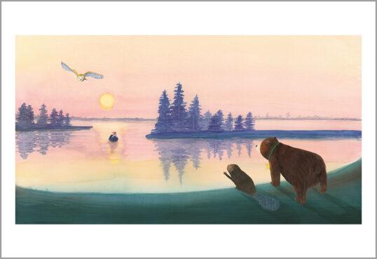 Fine art print uit een ster voor iedereen-beer ontmoet hond