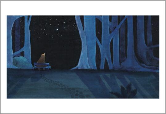 Fine art print een ster voor iedereen beer op bankje