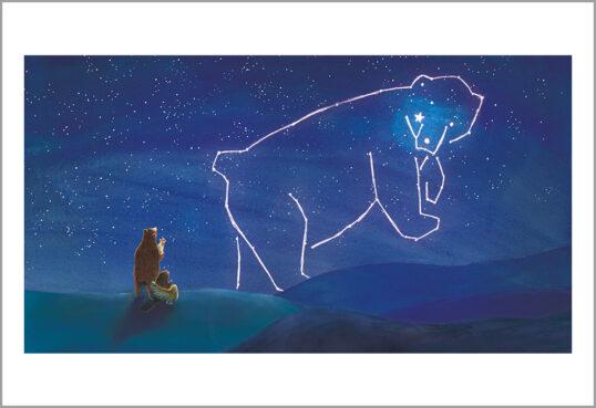 Fine art print uit een ster voor iedereen-dieren kijken naar de sterren